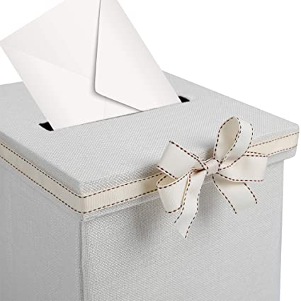 Amazon.com: FLUYTCO Wedding Card Envelope Box - Linen Fabric ...