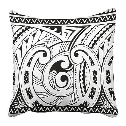 c9c787ad9f2e0 Emvency Throw Pillow Covers Cases Decorative 20x20 Inch Black Tribal Maori  Style Sleeve Tattoo Samoa African