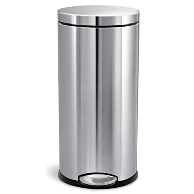 simplehuman 30 Liter / 8 Gallon Round Step Trash Can, Brushed Stainless Steel