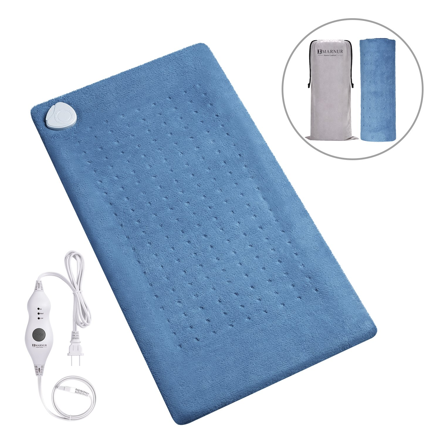 MARNUR XL Electric Heating Pad with Fast-Heating Technology, 3 Heat Settings, Soft Plush and Storage Bag, Heat Therapy for Neck/Shoulder/ Back Pain Relief(Dark Blue) - 12''x24''