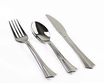(150 piezas) Cuberteria de Plastico Duro Plateado - 50 Tenedores 50 Cuchillos 50 Cucharas - Cubiertos de Plastico Metalizado Reusables Descartables o ...