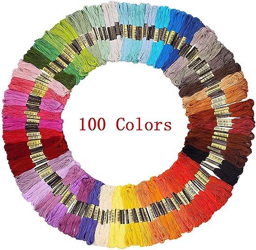 Hilo de punto de cruz de hilo de algodón para bordar, 100 colores ...
