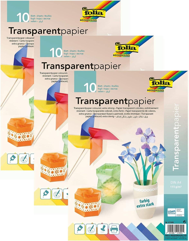 Windlichter ideal zum Basteln 115 g//qm farbig Sortiert 10 Blatt f/ür Fensterbilder folia 3er Pack 87409 DIN A4 Transparentpapier