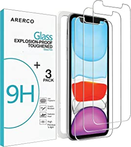 Arerco Compatible with iPhone XR Screen Protector, iPhone 11(6.1 Inch) Screen Protector, Tempered Glass Film Protector for Apple iPhone XR and iPhone 11, 3 Pack Clear