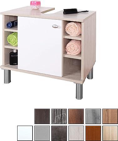 RICOO WM100-EP-W, Mueble baño bajo Lavabo, 60x54x32cm, Armario Auxiliar pequeño, Estantería Debajo lavamanos, Toallero, Madera Blanca y Roble marrón: Amazon.es: Hogar