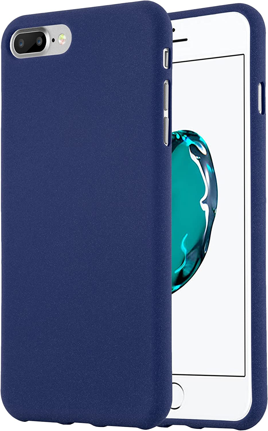 Cadorabo Case Compatible with Apple iPhone 8 Plus / 7 Plus / 7S Plus in Frost Dark Blue - Shockproof and Scratch Resistant TPU Silicone Cover - Ultra Slim Protective Gel Shell Bumper Back Skin