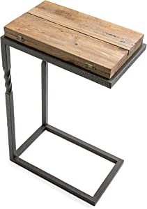 Plow & Hearth Deep Creek Pull-Up Accent Table with Folding Leaves and C-Stand Base, Reclaimed Rustic Pine Wood and Metal Frame with Twisted Accents, 20