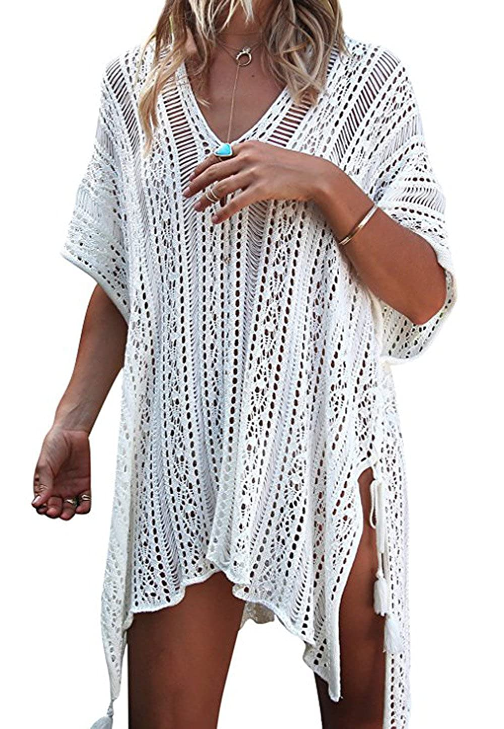 Bewish Womens Summer Beach Party V-Neck Hollowed-Out Woven Coverup Loose Blouse
