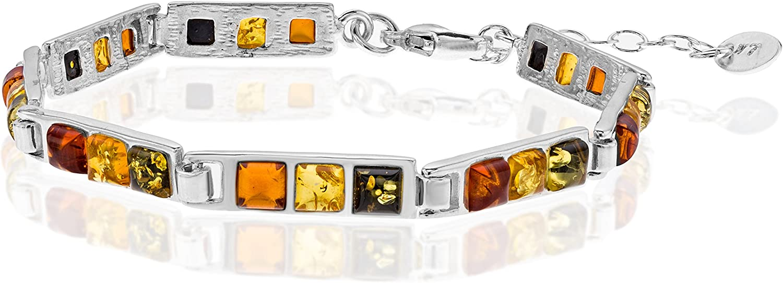 Copal Joya Pulsera con Ámbar, plata de ley 925, Cuadrado multicolor, con caja de joyas, idea regalo