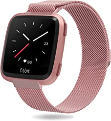 for Fitbit Versa Bands, Penta Stars Milanese Loop Stainless Steel Metal Mesh Band for Women and Men Fits Small & Large Wrists with Magnetic Clasp
