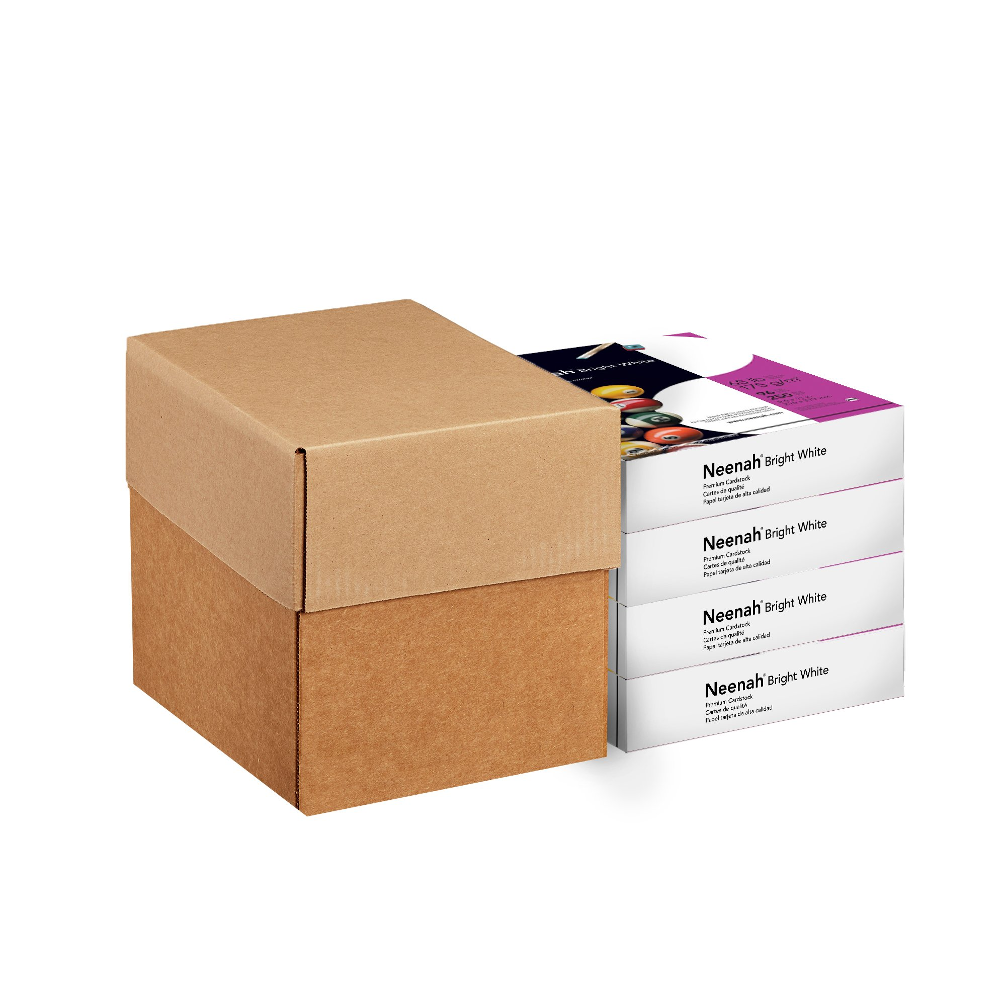 Neenah Paper Bright White Cardstock, 8.5'' x 11'', 65 lb/176 gsm, Bright White, 96 Brightness, 1000 Sheets, 4 Pack (91904)