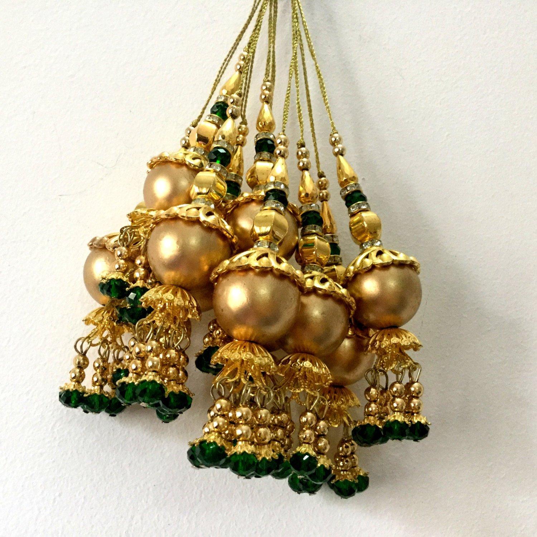 Dress Tassels Golden Tassels Bridal wear embellishments Rhinestone tassel dress latken Borlas-Length 3 inches-Price for a Pair-IDLA91
