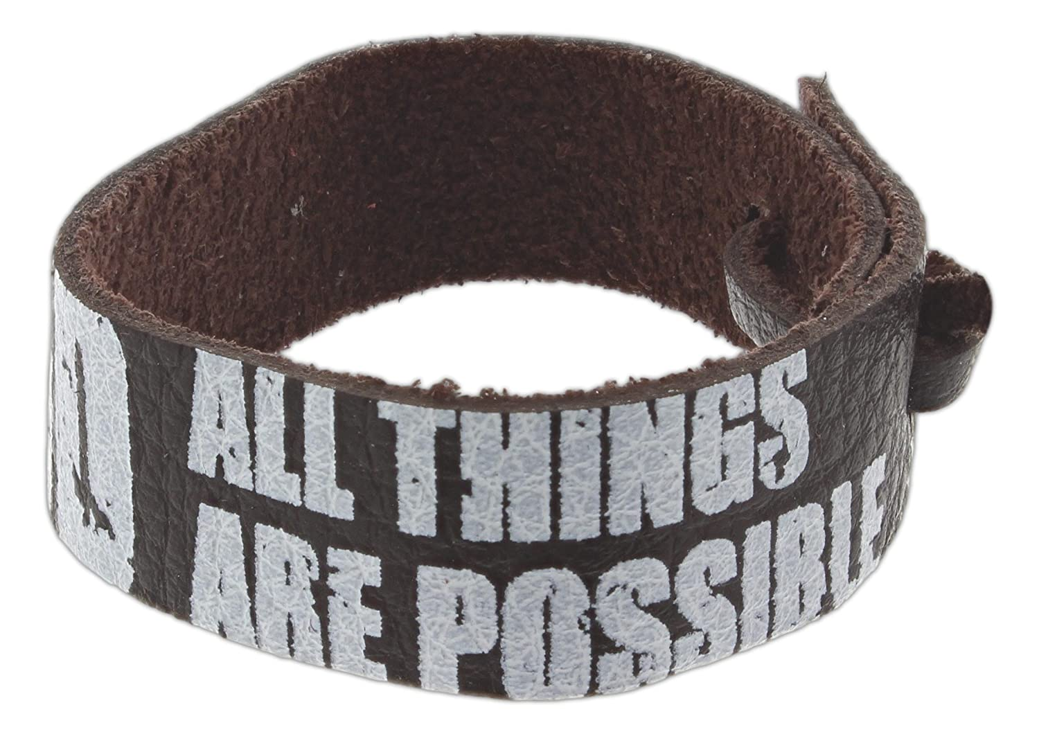 """Bob Siemon /""""All Things are Possible/"""" Leather Bracelet with Adjustable Cord"""
