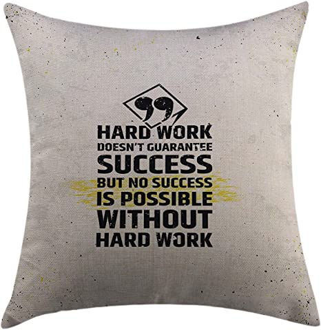 Amazon Com Mugod Throw Pillow Cover Motivational Hard Work Success Inspirational Quote Grunge Theme Typographic Concept Yellow Black White Home Decorative Cushion Cover 16x16 Inch Pillowcase Home Kitchen