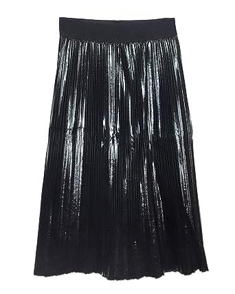 a14099c263 Zara Women's Faux Leather Pleated Skirt 4387/030 Black: Amazon.co.uk ...