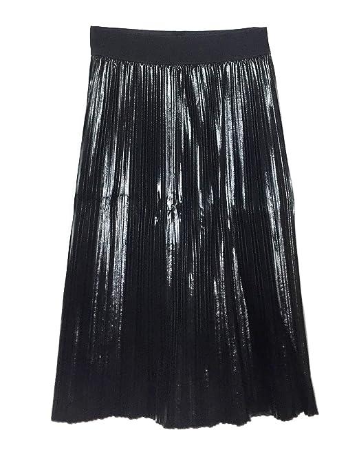 design innovativo 5f90e e4a18 Zara Donna Gonna Plissettata Effetto Pelle 4387/030: Amazon ...