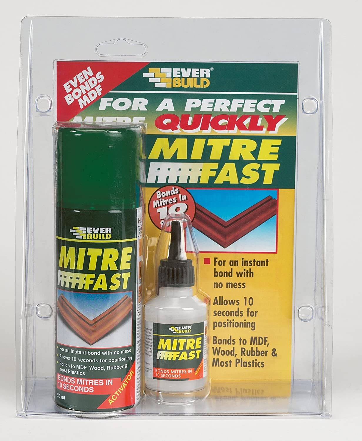 Mitre Fast Bonding Kit - Instant bonding (10 seconds) of wooden mitre joints - Standard - Clear Everbuild MITRE1-EBD B001GUA7YM