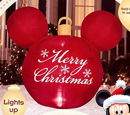 disney mickey mouse ears red merry christmas ornament airblown inflatable - Mickey Inflatable Christmas Decorations