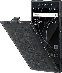 StilGut UltraSlim Case, custodia flip case in vera pelle per Sony Xperia XA1 Ultra, nero
