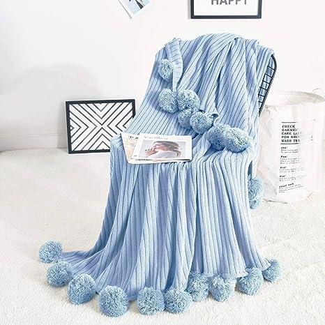 Blue paisley with pom pom fringe bow