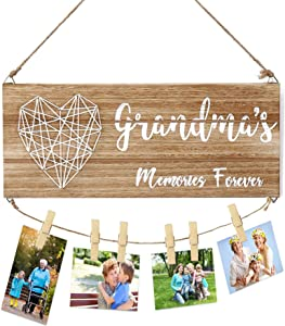 Zhoohz Grandma's Brag Board, Nana Grandmothers Photo Holder with Clips, Best Birthday Gifts for Grammy from Grandkids Daughter Son, Family Memory Forever Wooden Hanging Frame for Home Wall Decor
