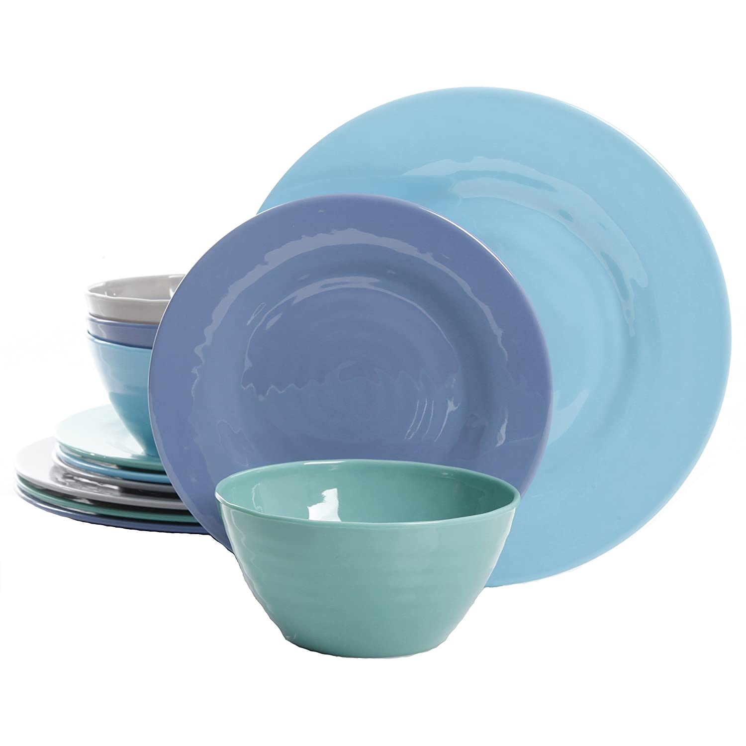Gibson Overseas Brist 12-Piece Dinnerware Set Break /& Chip-Resistant Melamine Plates /& Bowls Indoor//Outdoor Blue Inc
