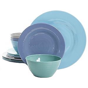Gibson Overseas, Inc. Brist 12-Piece Dinnerware Set Break & Chip-Resistant Melamine Plates & Bowls Indoor/Outdoor Blue