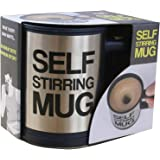 Tuelip Self Stirring Stainless Steel Mug 390 ml (Silver)