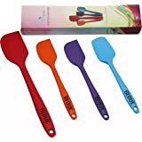 GLOUE Silicone Spatula Set - 4-piece 450oF Heat-Resistant Baking Spoon & Spatulas - Ergonomic Easy-to-Clean Seamless One-Piece Design - Nonstick - Dishwasher Safe - Solid Stainless Steel - Multicolor