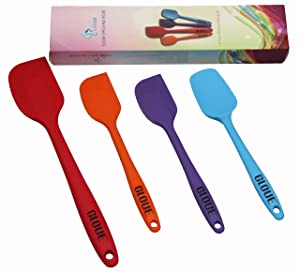 GLOUE Silicone Spatula Set - 4-piece 450oF Heat-Resistant Baking Spoon & Spatulas - Ergonomic Easy-to-Clean Seamless One-Piece Design - Nonstick - Dishwasher Safe - Solid Stainless