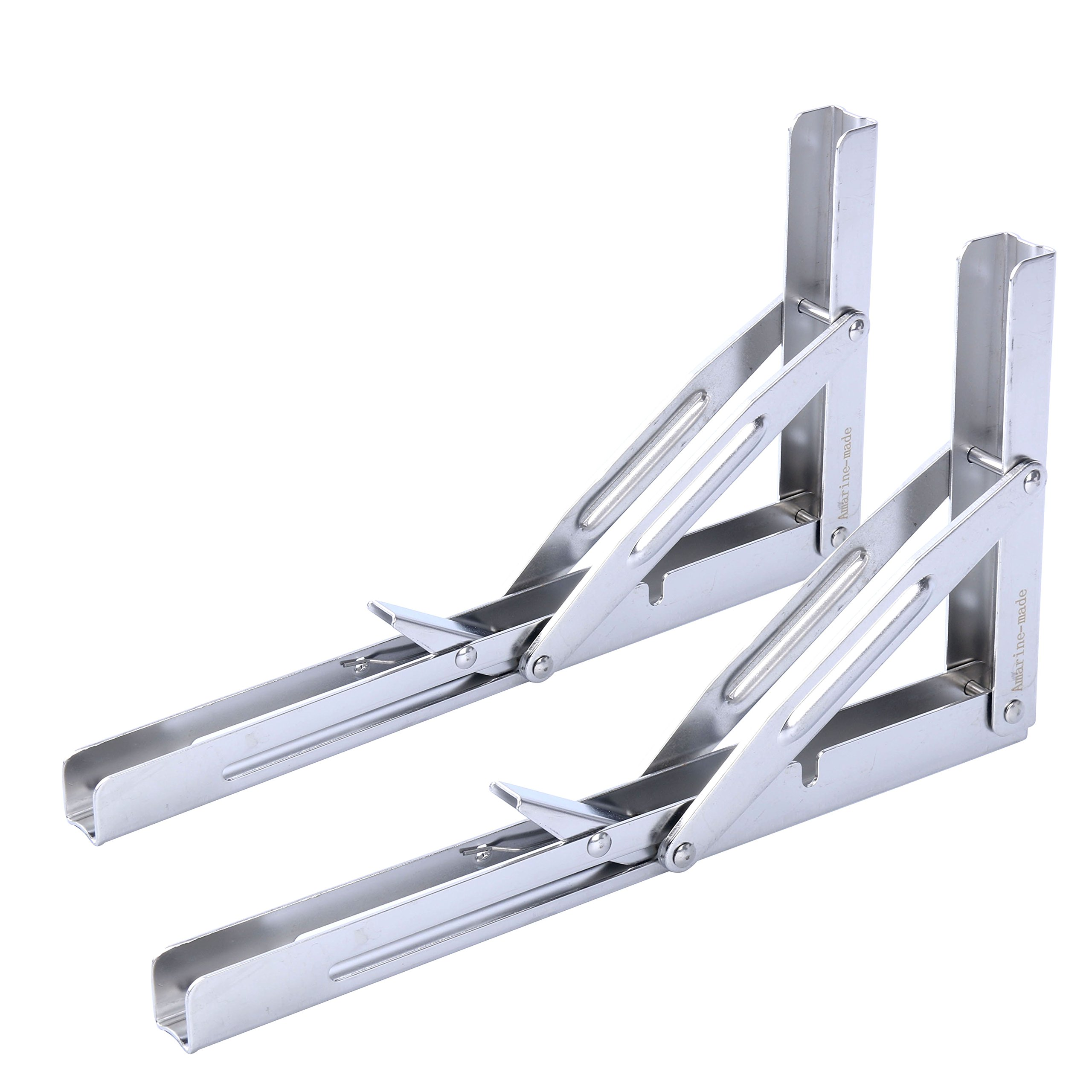 Amarine-made 2 PCS Heavy Duty Polished Stainless Steel Folding Shelf Bench Table Folding Shelf or Bracket, Max Load: 550lb/250kg, Short Release Arm