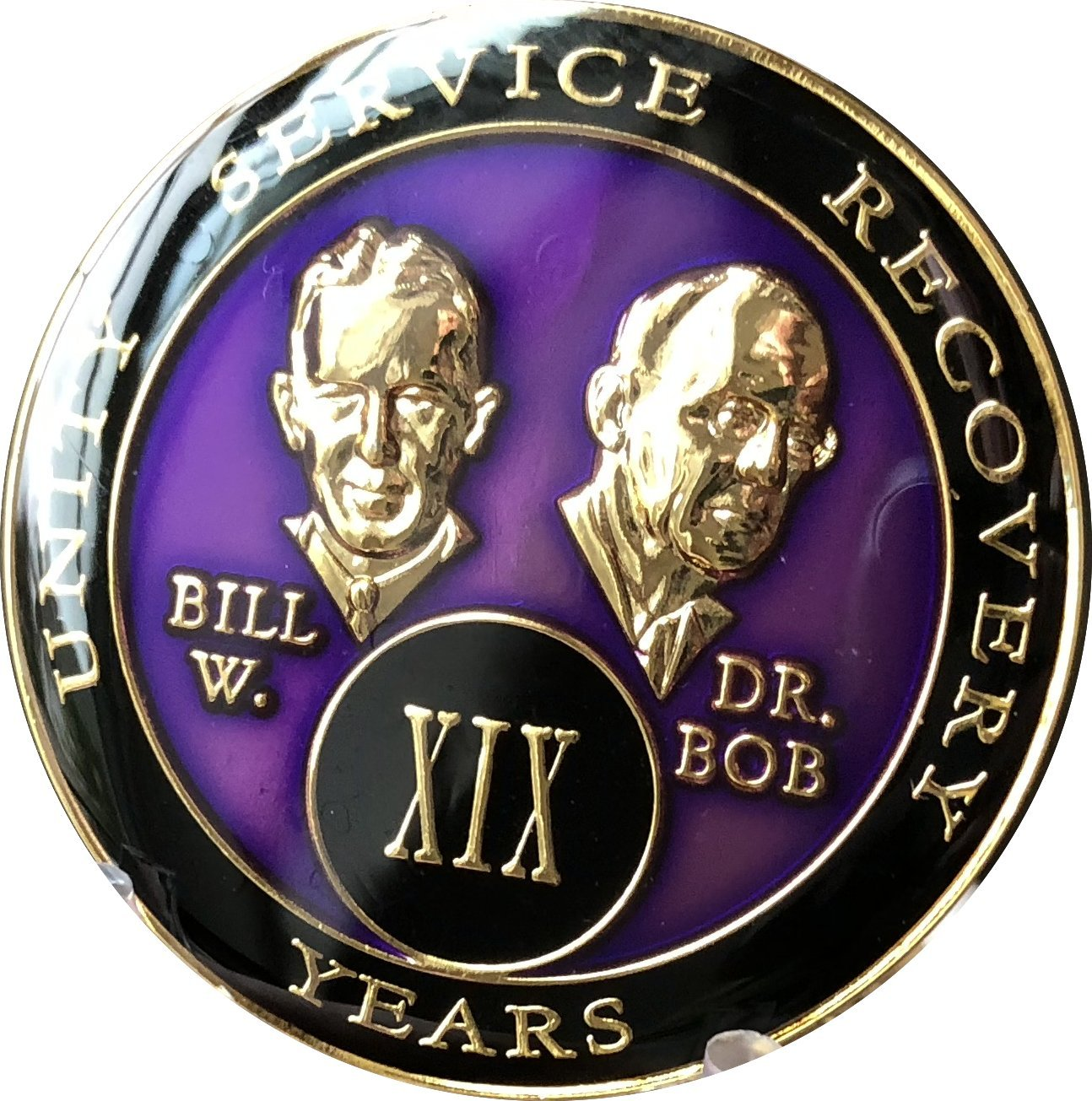 19 year AA Medallion Purple Tri-Plate Founders Bill & Bob Chip XIX