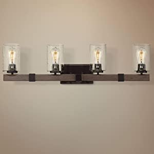 """Poetry Rustic Industrial Wall Light Wood Grain Bronze Hardwired 34"""" Wide 4-Light Fixture Clear Seedy Glass for Bathroom Vanity Mirror - Franklin Iron Works"""
