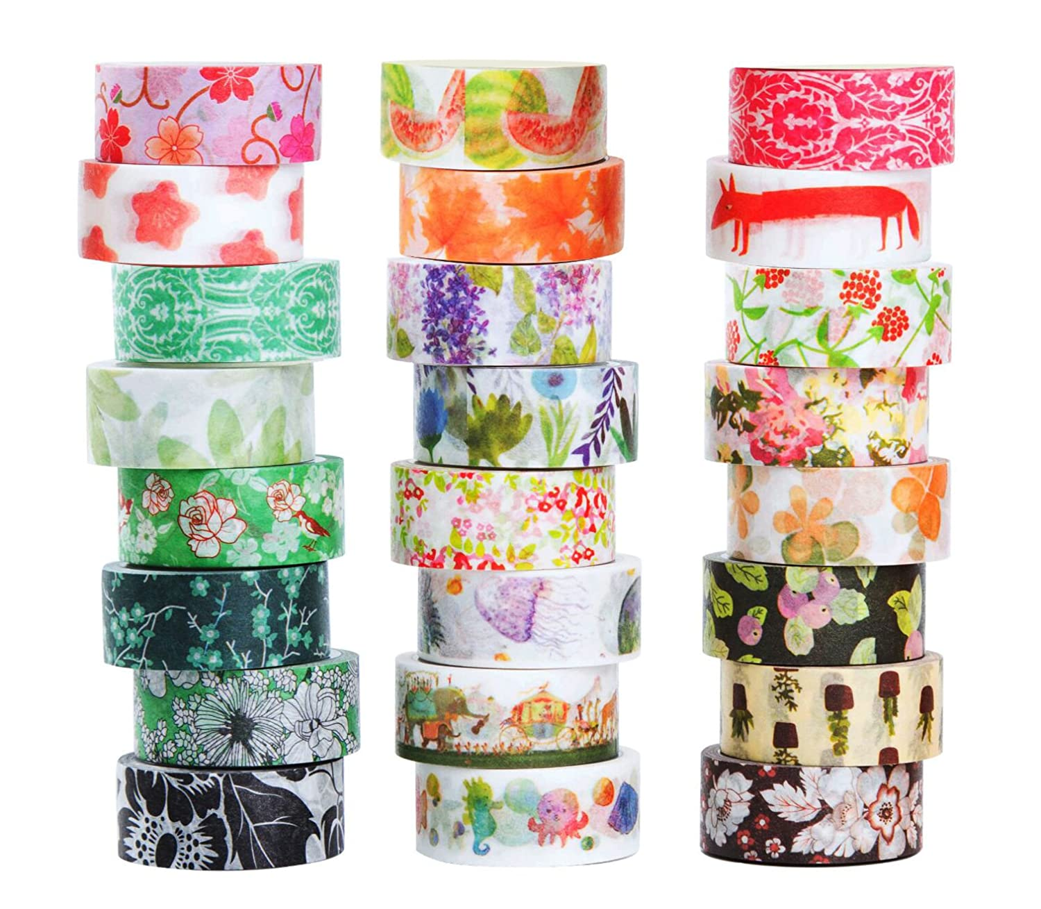 Washi Masking Tape Set of 24, Decorative Masking Tape Collection,Tape for DIY Crafts and Gift Wrapping Office Party Supplies Youngmer 4336847207