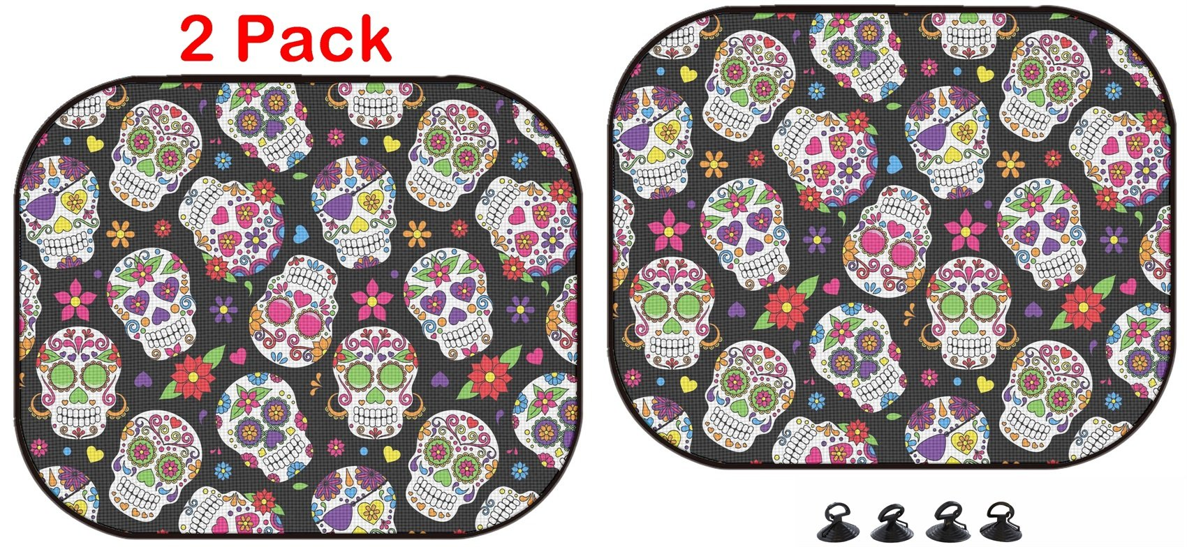 Luxlady Car Sun Shade Protector Block Damaging UV Rays Sunlight Heat for All Vehicles, 2 Pack Image ID: 36626870 Day of The Dead Sugar Skull Seamless Vector Background