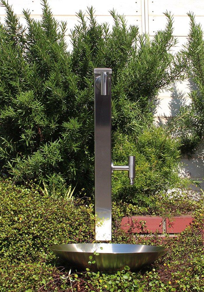 【fusion】ステンレスガーデン水栓(ロング&ショート)分水孔付ステンレス角型水栓柱 水鉢 庭用セット B01M5EOOQV