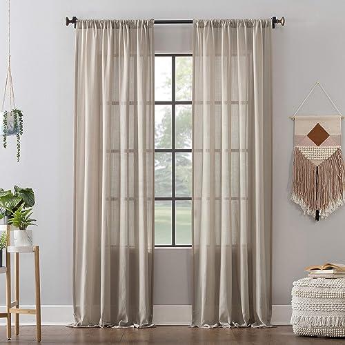 Clean Window Leno Weave Stripe Anti-Dust Allergy Pet Friendly Sheer Curtain Panel, 52 x 95 , Oatmeal