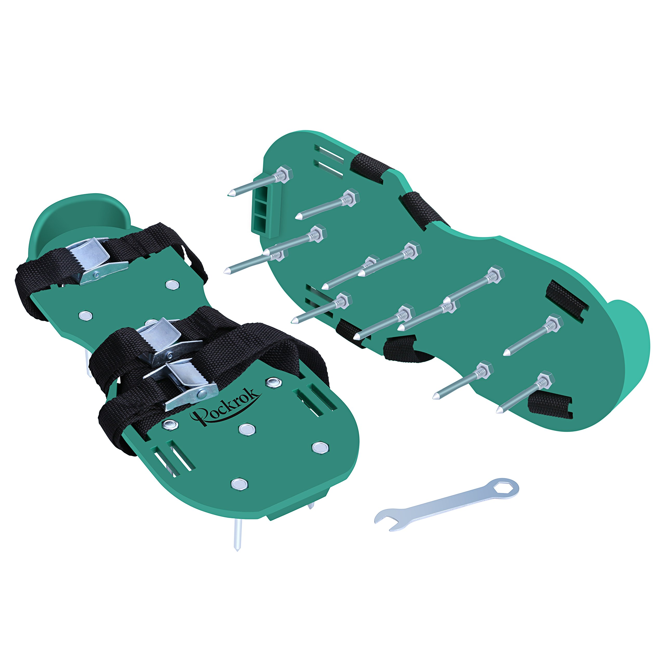 Rockrok Lawn Aerator Shoes, Heavy Duty 2'' Spike Sandals for Aerating Your Garden Yard Soil - 3 Adjustable Straps and Metal Buckles - 1 Size Fits All