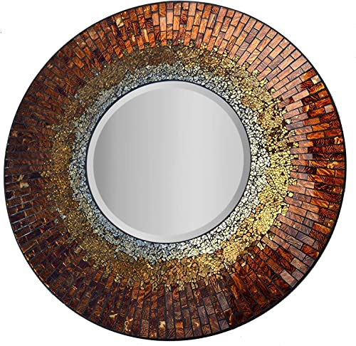 Lulu Decor, Baltic Amber Mosaic Wall Mirror, Decorative Handmade Beveled Round Mirror, Diameter 23.5 , Mirror 11.5 Perfect for Housewarming Gift. LP301