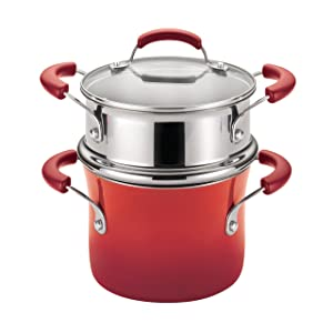 Rachael Ray Classic Brights Hard Enamel Nonstick 3-Quart Covered Steamer Set, Red Gradient