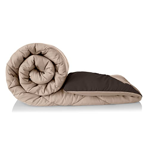 Amazon Brand - Solimo Microfibre Reversible Comforter, Single (Sandy Beige & Walnut Brown, 200 GSM)