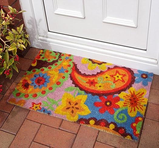 Colourful Blue Paisley Coir Doormat Entrance Floor Door Mat Indoor ...