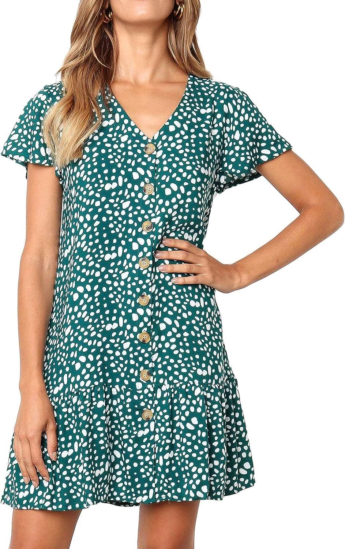 FBRDXCR Womens Short Sleeve Dress Print Casual Plain Swing T-Shirt Loose Summer Beach V Neck Dresses Sundress