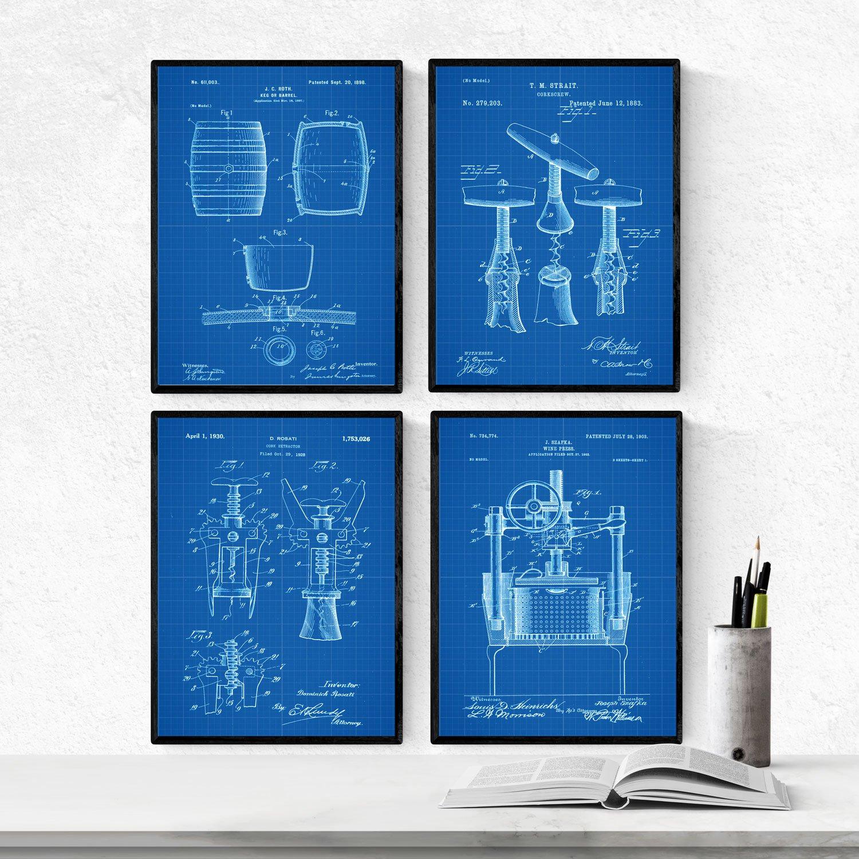 Nacnic Azul - Pack de 4 Láminas con Patentes de Vino. Set de Posters con inventos y Patentes Antiguas. Elije el Color Que Más te guste.