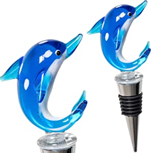 Glass Dolphin Wine Stopper - Decorative, Unique, Handmade, Eye-Catching Glass Wine Stoppers – Dolphin Wine Bottle Stopper, Wine Accessories, Dolphin Gift for Host/Hostess - Wine Corker/Sealer