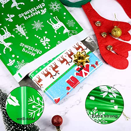 5877a6dffa 10 x 13 Inch Winter Poly Mailers Christmas Mailers Shipping Bags with  Snowflakes Holiday Self Sealing Shipping Envelopes Pack of 100 (Green)   Amazon.co.uk  ...