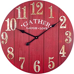 BEW Large Wood Wall Clock, 24 Inch Vintage Solid Wooden Silent Non-Ticking Battery Operated Quartz Movement Rustic Decorative Clock for Living Room/Dining Room/Bedroom/Kitchen/Farmhouse