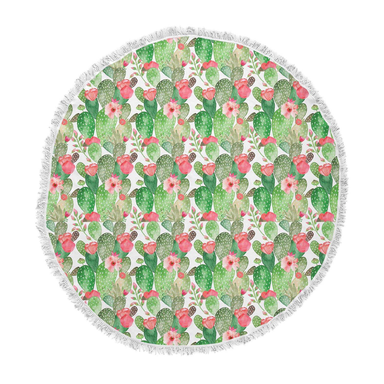 KESS InHouse Li Zamperini Cactus Dance Green Red Illustration Round Beach Towel Blanket
