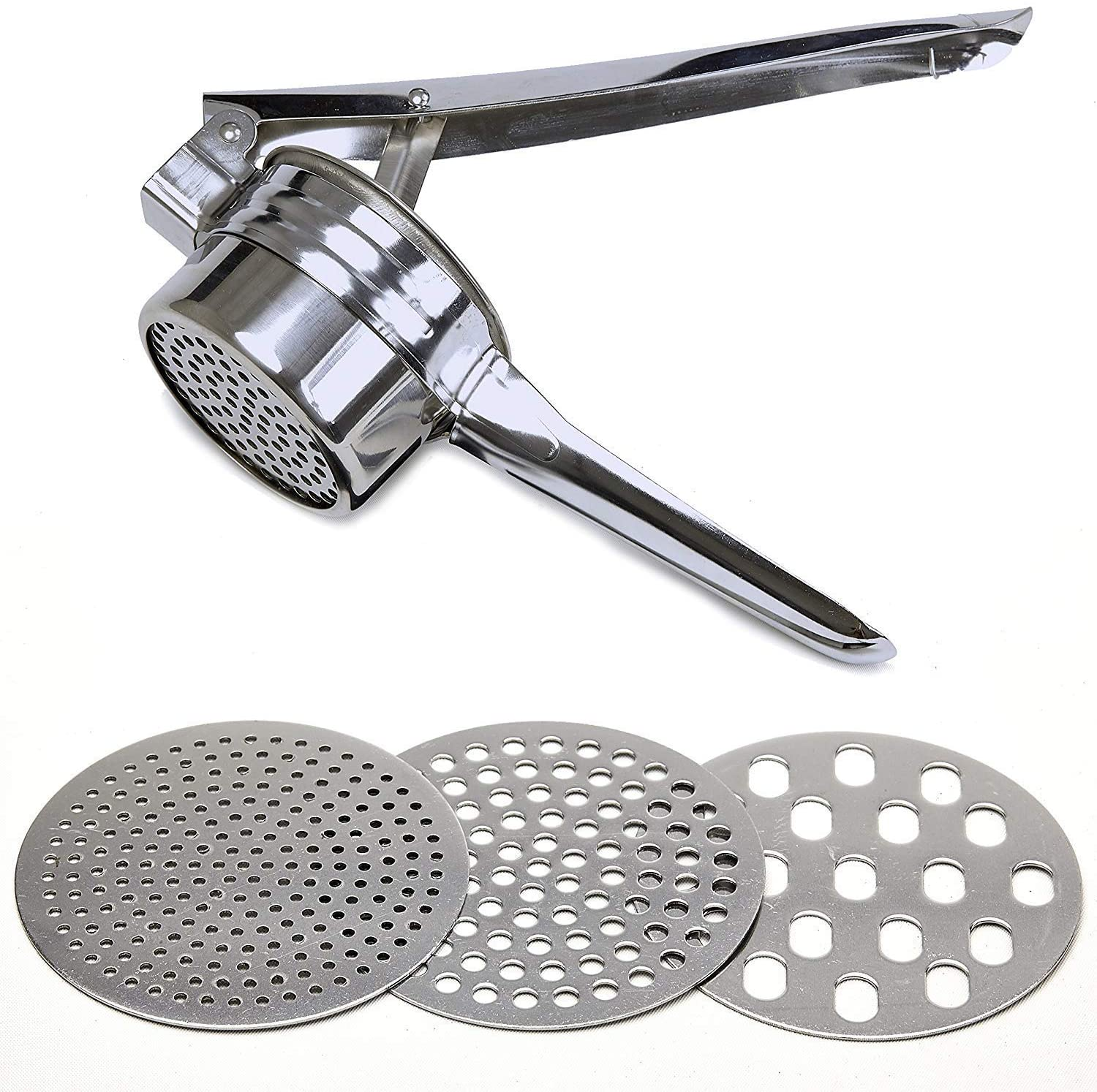 Stainless Steel Potato Ricer – Manual Masher for Potatoes, Fruits, Vegetables, Yams, Squash, Baby Food and More - 3 Interchangeable Discs for Fine, Medium, and Coarse, Easy To Use - by Tundras