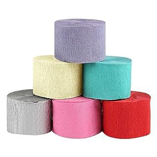 Naler 6 Rolls Crepe Paper Carta crespa, 6 Colore Carta da imballaggio per tessuti per la decorazione di progetti Art Craft, 10 m * 4.5cm